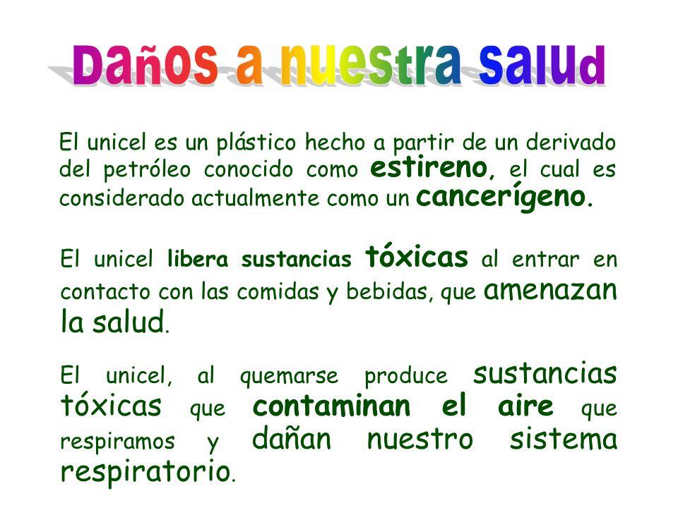 El unicel es un plástico hecho a partir de un derivado del petróleo conocido como estireno, el cual es considerado actualmente como un cancerígeno. El