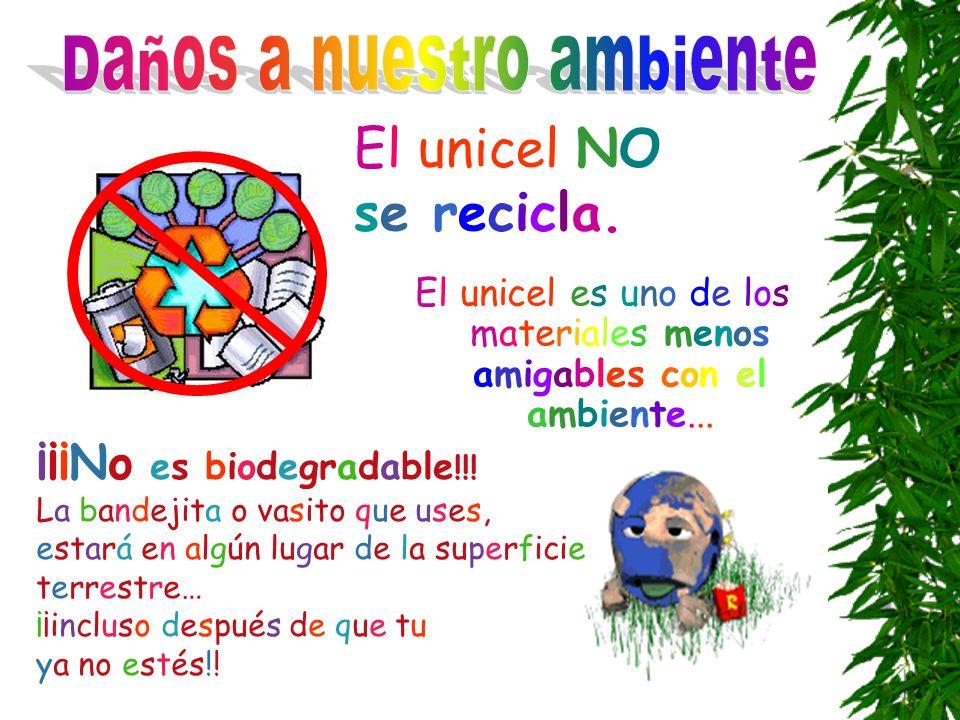El unicel es uno de los materiales menos amigables con el ambiente... El unicel NO se recicla. ¡¡¡No es biodegradable !!! La bandejita o vasito que us