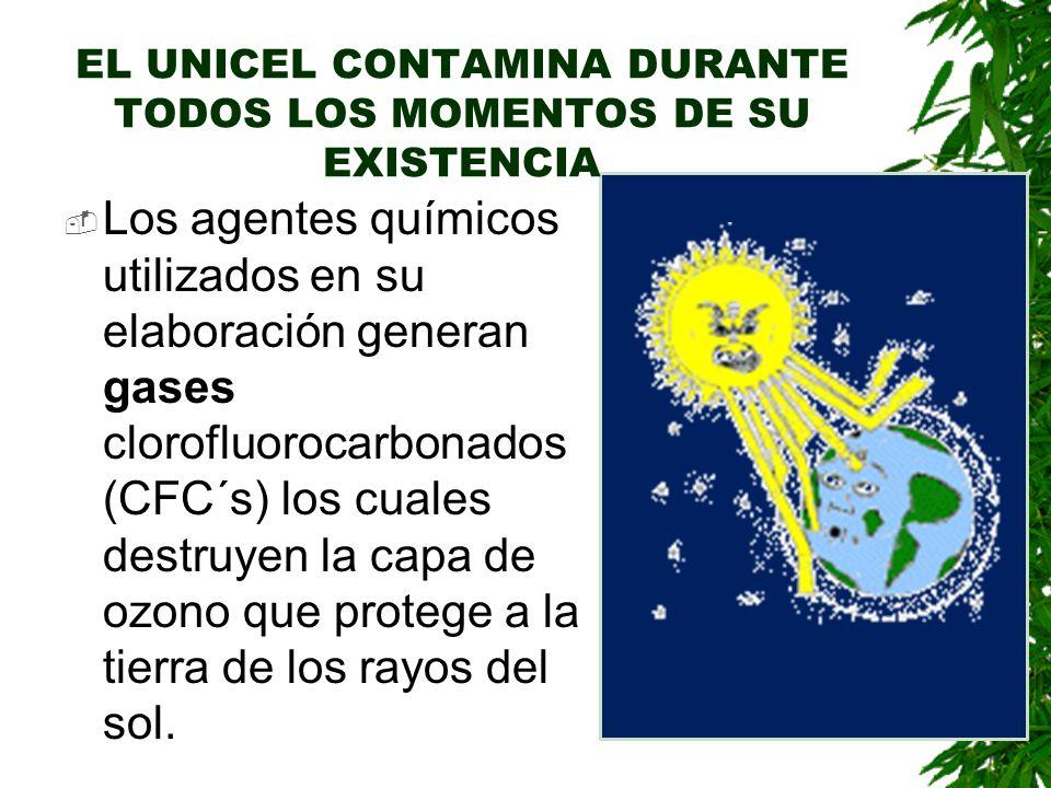EL UNICEL CONTAMINA DURANTE TODOS LOS MOMENTOS DE SU EXISTENCIA Los agentes químicos utilizados en su elaboración generan gases clorofluorocarbonados