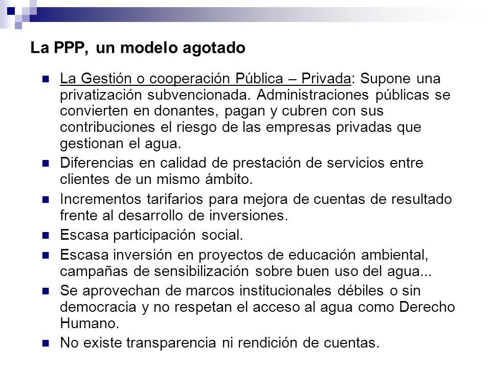 La PPP, un modelo agotado La Gestión o cooperación Pública – Privada: Supone una privatización subvencionada. Administraciones públicas se convierten