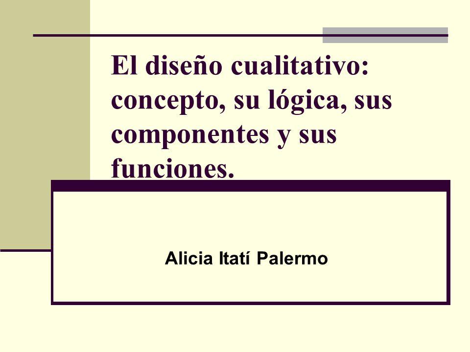 El diseño cualitativo: concepto, su lógica, sus componentes y sus funciones. Alicia Itatí Palermo