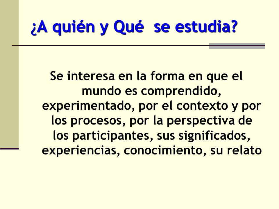 ¿A quién y Qué se estudia? Se interesa en la forma en que el mundo es comprendido, experimentado, por el contexto y por los procesos, por la perspecti