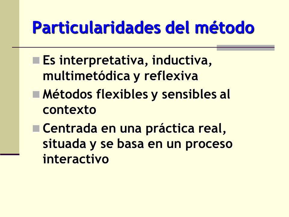 Particularidades del método Es interpretativa, inductiva, multimetódica y reflexiva Es interpretativa, inductiva, multimetódica y reflexiva Métodos fl
