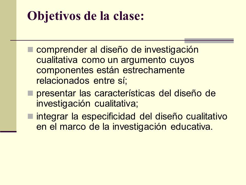 Objetivos de la clase: comprender al diseño de investigación cualitativa como un argumento cuyos componentes están estrechamente relacionados entre sí