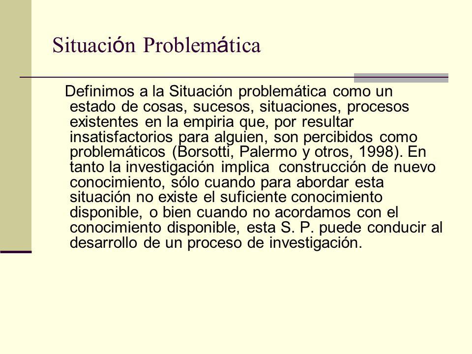 Situaci ó n Problem á tica Definimos a la Situación problemática como un estado de cosas, sucesos, situaciones, procesos existentes en la empiria que,