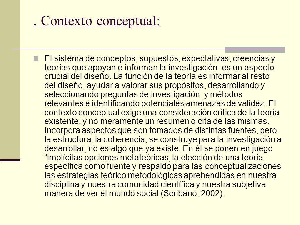 . Contexto conceptual: El sistema de conceptos, supuestos, expectativas, creencias y teorías que apoyan e informan la investigación- es un aspecto cru