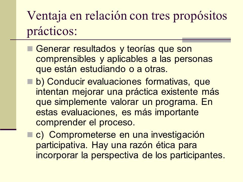 Ventaja en relación con tres propósitos prácticos: Generar resultados y teorías que son comprensibles y aplicables a las personas que están estudiando
