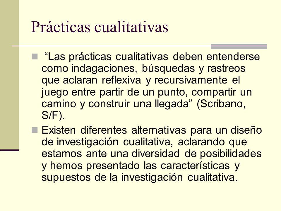 Prácticas cualitativas Las prácticas cualitativas deben entenderse como indagaciones, búsquedas y rastreos que aclaran reflexiva y recursivamente el j