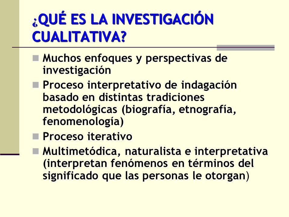 ¿ QUÉ ES LA INVESTIGACIÓN CUALITATIVA? Muchos enfoques y perspectivas de investigación Muchos enfoques y perspectivas de investigación Proceso interpr