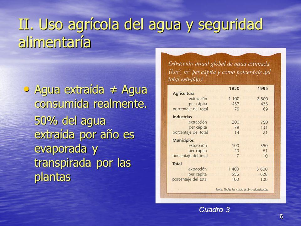 7 Agricultura: mayor usuaria de agua (casi 70%).Agricultura: mayor usuaria de agua (casi 70%).