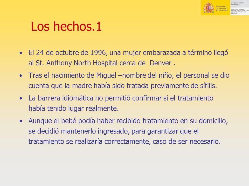 Los hechos.1 El 24 de octubre de 1996, una mujer embarazada a término llegó al St. Anthony North Hospital cerca de Denver. Tras el nacimiento de Migue
