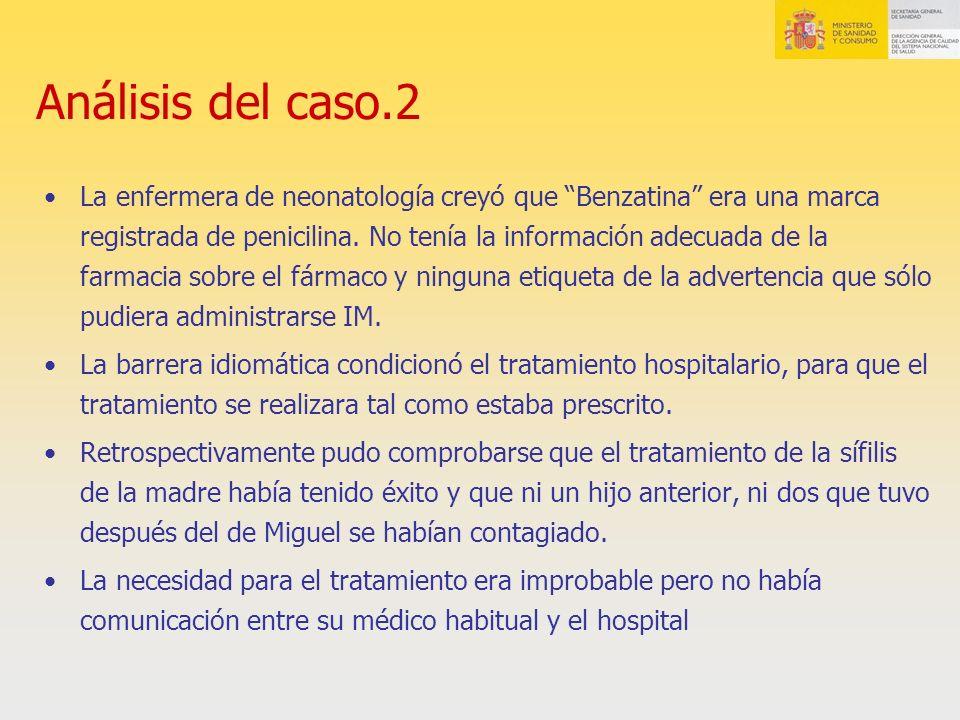Análisis del caso.2 La enfermera de neonatología creyó que Benzatina era una marca registrada de penicilina. No tenía la información adecuada de la fa