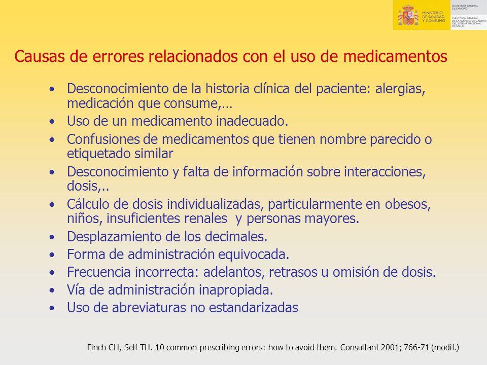 Causas de errores relacionados con el uso de medicamentos Desconocimiento de la historia clínica del paciente: alergias, medicación que consume,… Uso