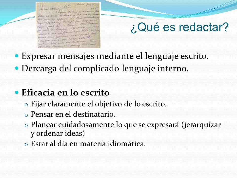 ¿Qué es redactar? Expresar mensajes mediante el lenguaje escrito. Dercarga del complicado lenguaje interno. Eficacia en lo escrito o Fijar claramente