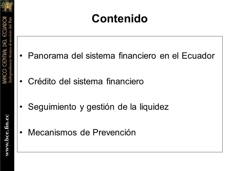 Contenido Panorama del sistema financiero en el Ecuador Crédito del sistema financiero Seguimiento y gestión de la liquidez Mecanismos de Prevención