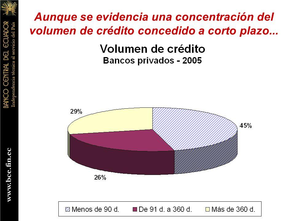 Aunque se evidencia una concentración del volumen de crédito concedido a corto plazo...