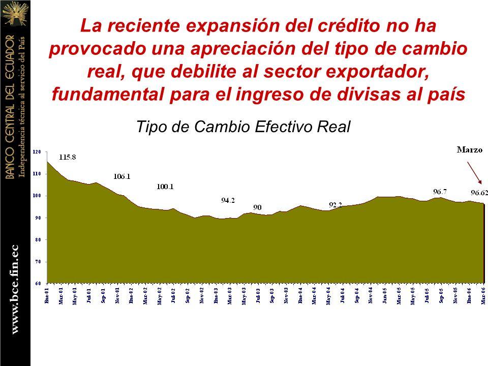 La reciente expansión del crédito no ha provocado una apreciación del tipo de cambio real, que debilite al sector exportador, fundamental para el ingr