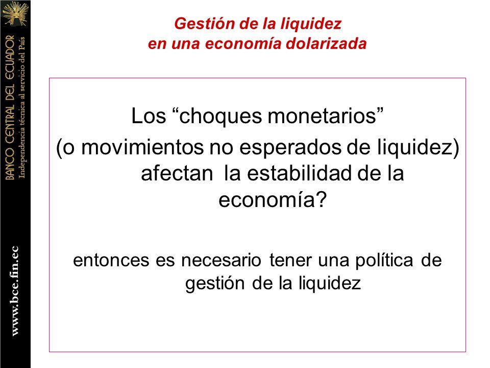 Los choques monetarios (o movimientos no esperados de liquidez) afectan la estabilidad de la economía? entonces es necesario tener una política de ges