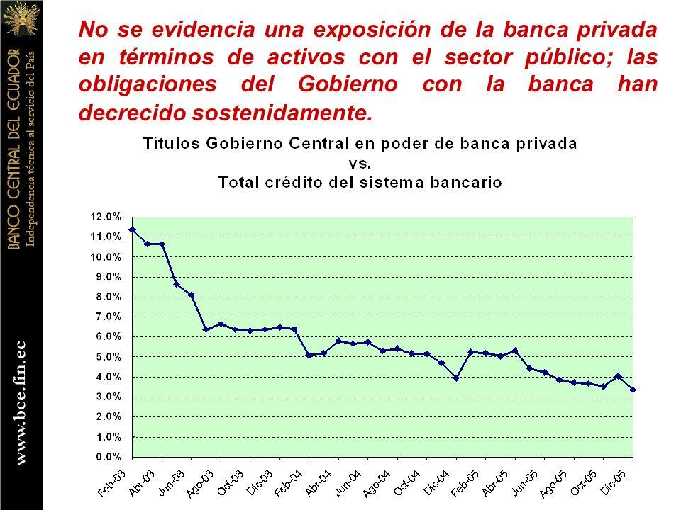 No se evidencia una exposición de la banca privada en términos de activos con el sector público; las obligaciones del Gobierno con la banca han decrec