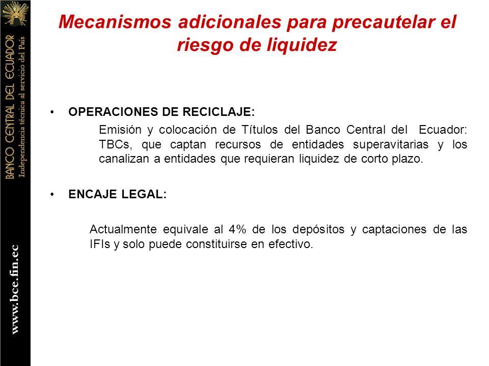 OPERACIONES DE RECICLAJE: Emisión y colocación de Títulos del Banco Central del Ecuador: TBCs, que captan recursos de entidades superavitarias y los c