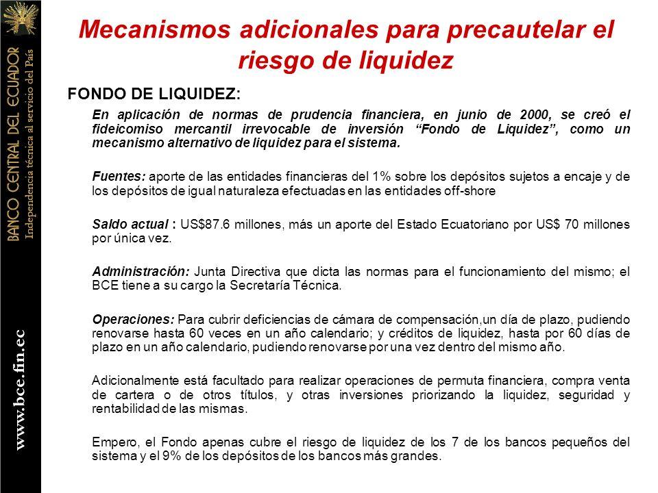FONDO DE LIQUIDEZ: En aplicación de normas de prudencia financiera, en junio de 2000, se creó el fideicomiso mercantil irrevocable de inversión Fondo