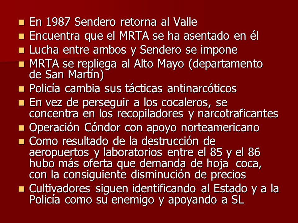 En 1987 Sendero retorna al Valle En 1987 Sendero retorna al Valle Encuentra que el MRTA se ha asentado en él Encuentra que el MRTA se ha asentado en é