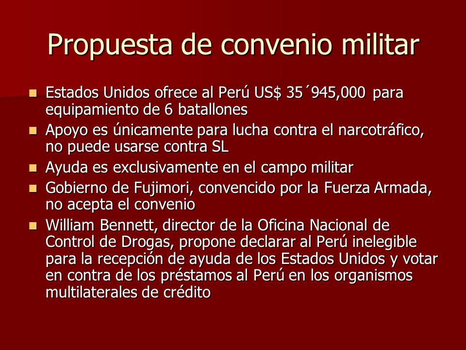 Propuesta de convenio militar Estados Unidos ofrece al Perú US$ 35´945,000 para equipamiento de 6 batallones Estados Unidos ofrece al Perú US$ 35´945,