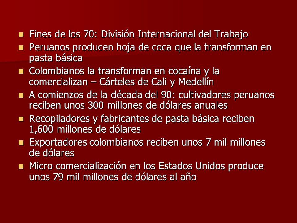 Fines de los 70: División Internacional del Trabajo Fines de los 70: División Internacional del Trabajo Peruanos producen hoja de coca que la transfor