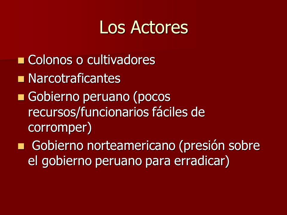 Los Actores Colonos o cultivadores Colonos o cultivadores Narcotraficantes Narcotraficantes Gobierno peruano (pocos recursos/funcionarios fáciles de c