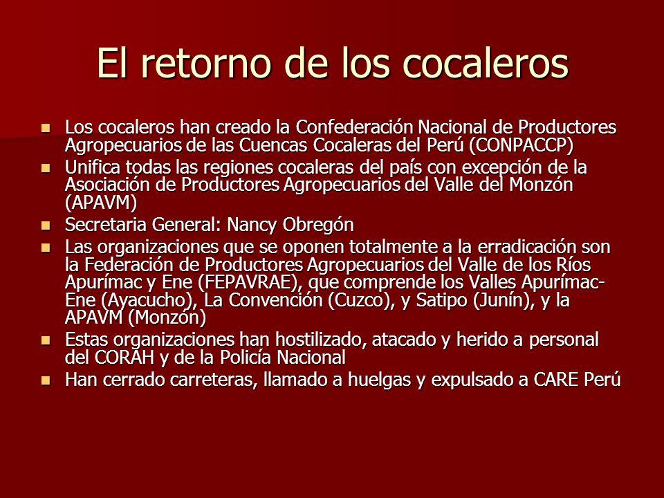 El retorno de los cocaleros Los cocaleros han creado la Confederación Nacional de Productores Agropecuarios de las Cuencas Cocaleras del Perú (CONPACC