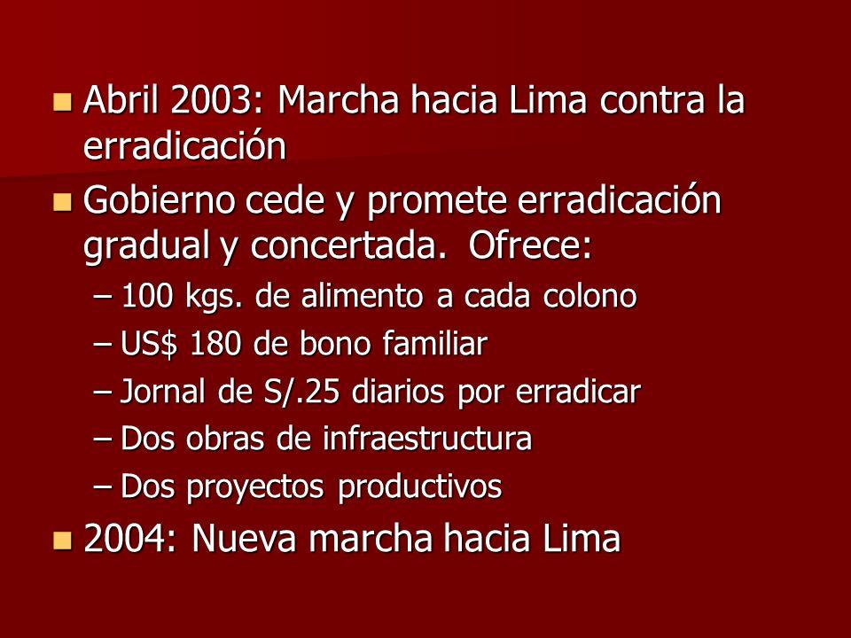 Abril 2003: Marcha hacia Lima contra la erradicación Abril 2003: Marcha hacia Lima contra la erradicación Gobierno cede y promete erradicación gradual