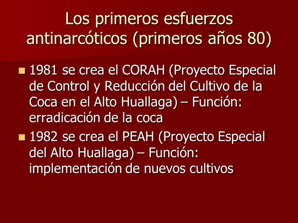 Los primeros esfuerzos antinarcóticos (primeros años 80) 1981 se crea el CORAH (Proyecto Especial de Control y Reducción del Cultivo de la Coca en el