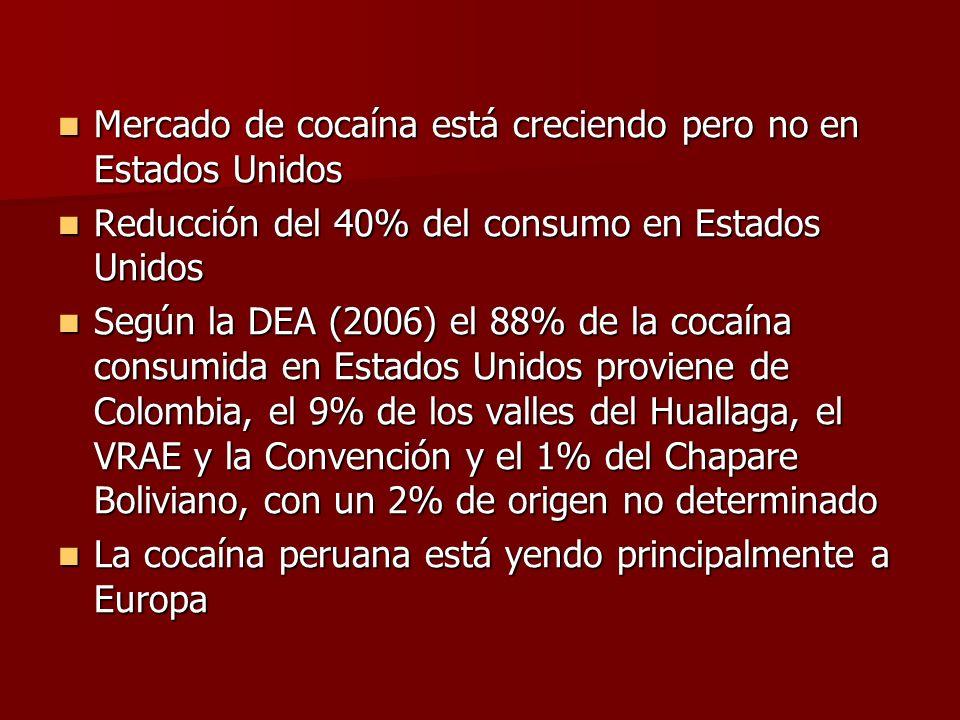 Mercado de cocaína está creciendo pero no en Estados Unidos Mercado de cocaína está creciendo pero no en Estados Unidos Reducción del 40% del consumo