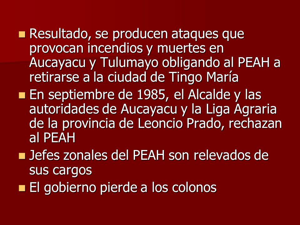 Resultado, se producen ataques que provocan incendios y muertes en Aucayacu y Tulumayo obligando al PEAH a retirarse a la ciudad de Tingo María Result