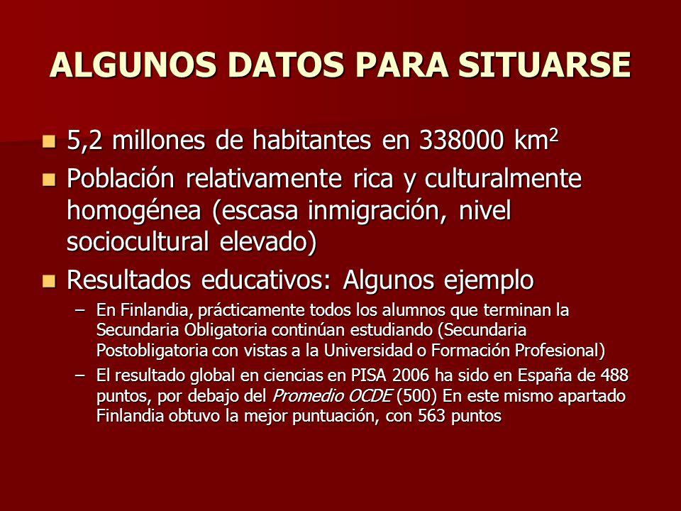 ALGUNOS DATOS PARA SITUARSE 5,2 millones de habitantes en 338000 km 2 5,2 millones de habitantes en 338000 km 2 Población relativamente rica y cultura