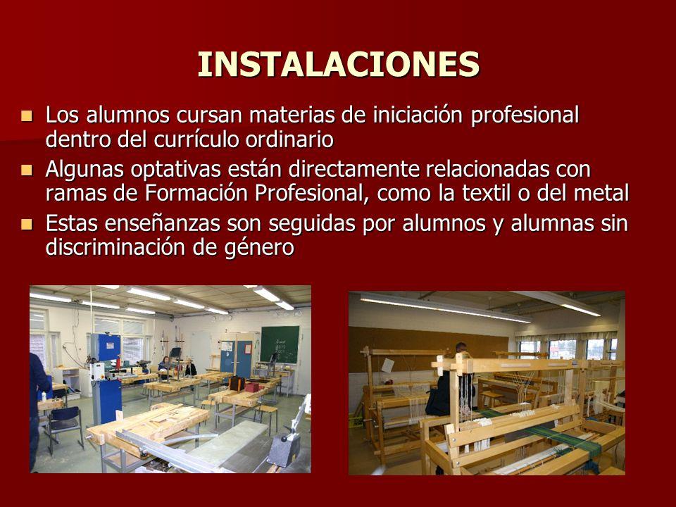 INSTALACIONES Los alumnos cursan materias de iniciación profesional dentro del currículo ordinario Los alumnos cursan materias de iniciación profesion