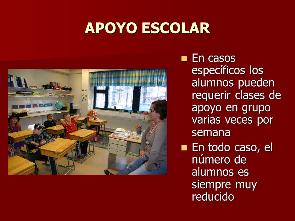 APOYO ESCOLAR En casos específicos los alumnos pueden requerir clases de apoyo en grupo varias veces por semana En casos específicos los alumnos puede