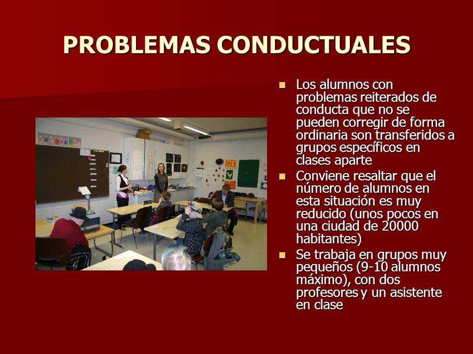 PROBLEMAS CONDUCTUALES Los alumnos con problemas reiterados de conducta que no se pueden corregir de forma ordinaria son transferidos a grupos específ