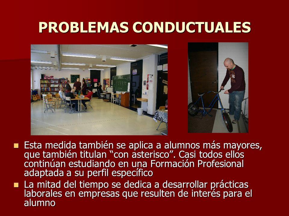 PROBLEMAS CONDUCTUALES Esta medida también se aplica a alumnos más mayores, que también titulan con asterisco. Casi todos ellos continúan estudiando e