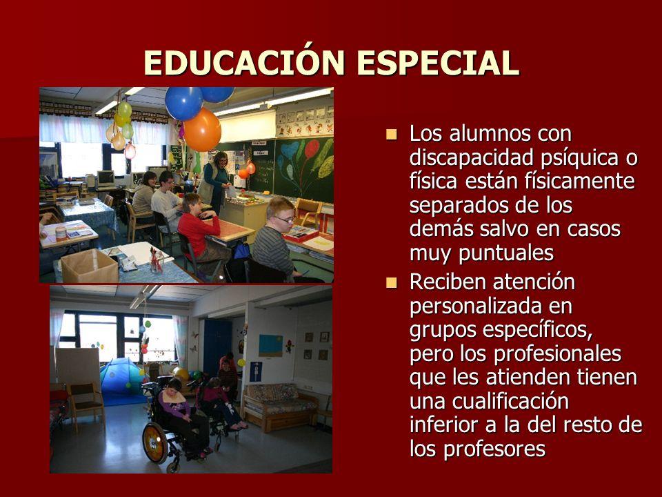 EDUCACIÓN ESPECIAL Los alumnos con discapacidad psíquica o física están físicamente separados de los demás salvo en casos muy puntuales Los alumnos co