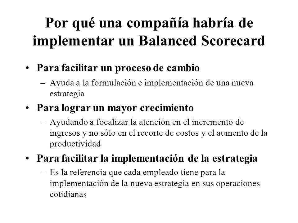 Por qué una compañía habría de implementar un Balanced Scorecard Para facilitar un proceso de cambio –Ayuda a la formulación e implementación de una n