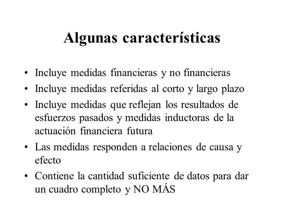 Algunas características Incluye medidas financieras y no financieras Incluye medidas referidas al corto y largo plazo Incluye medidas que reflejan los