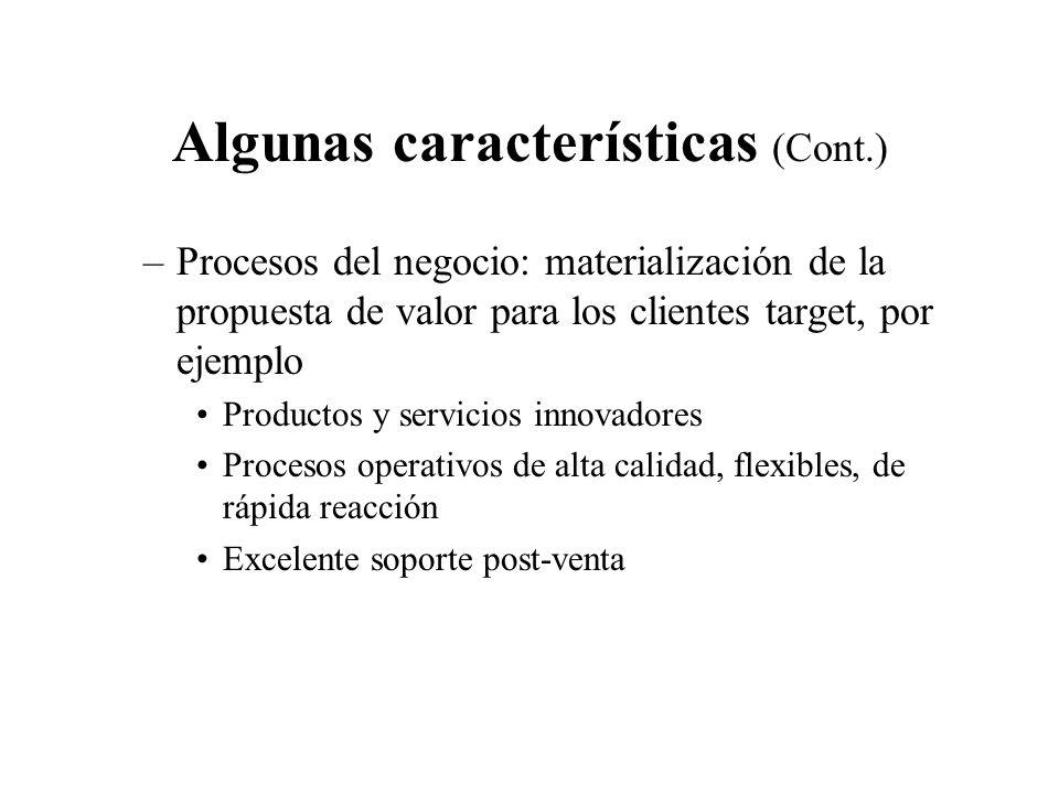 Algunas características (Cont.) –Procesos del negocio: materialización de la propuesta de valor para los clientes target, por ejemplo Productos y serv