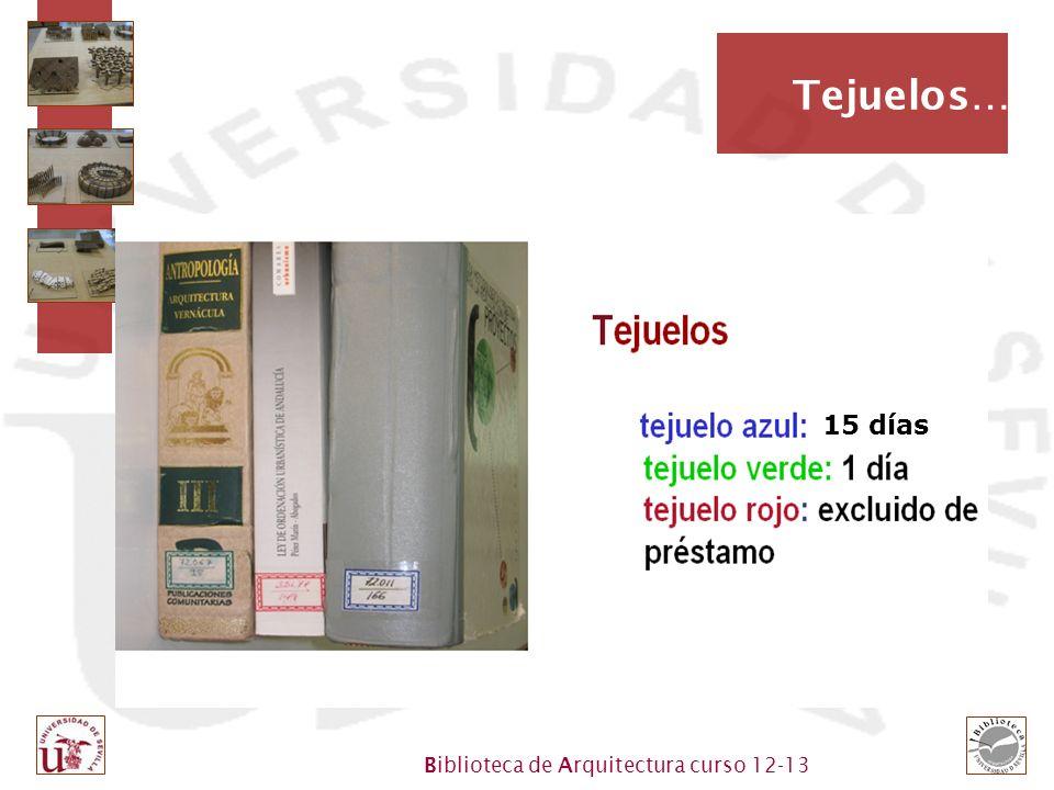 Biblioteca de Arquitectura curso 12-13 Tejuelos… 15 días