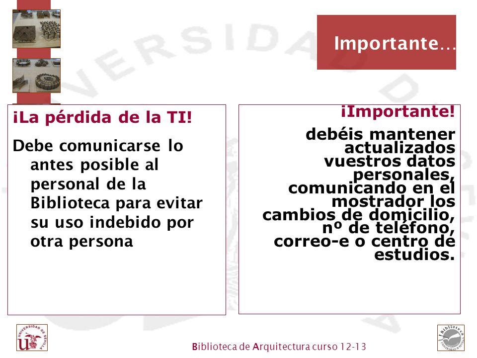 Biblioteca de Arquitectura curso 12-13 Importante… ¡La pérdida de la TI.