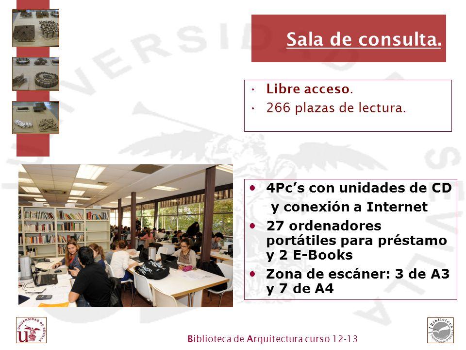 Biblioteca de Arquitectura curso 12-13 Sala de consulta. Libre acceso. 266 plazas de lectura. 4Pcs con unidades de CD y conexión a Internet 27 ordenad