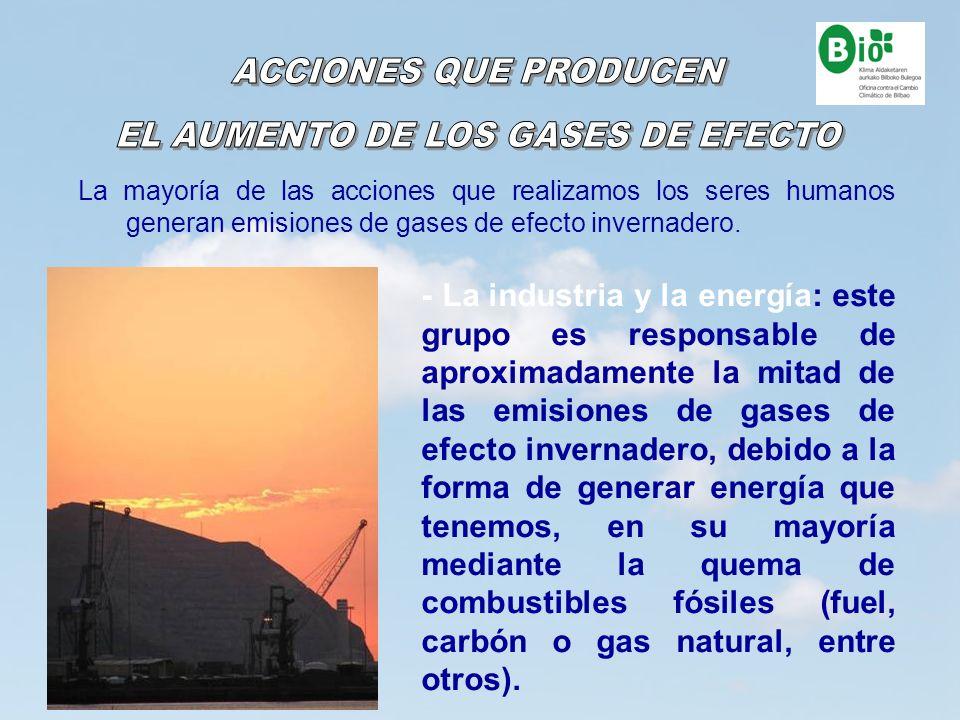 9 9 La mayoría de las acciones que realizamos los seres humanos generan emisiones de gases de efecto invernadero. - La industria y la energía: este gr