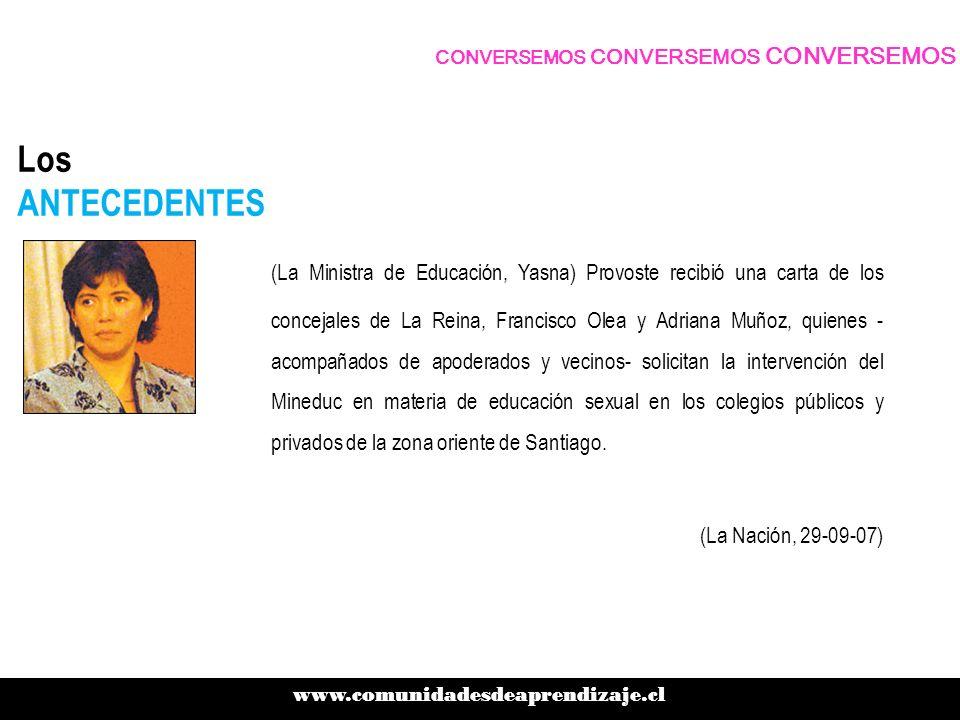 Los ANTECEDENTES (La Ministra de Educación, Yasna) Provoste recibió una carta de los concejales de La Reina, Francisco Olea y Adriana Muñoz, quienes -