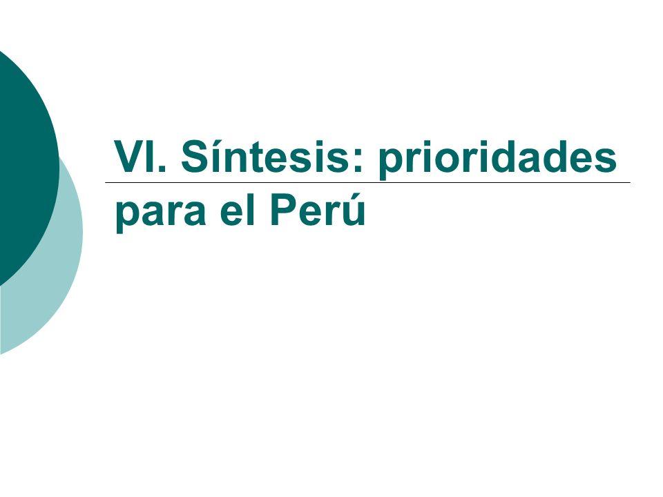 VI. Síntesis: prioridades para el Perú