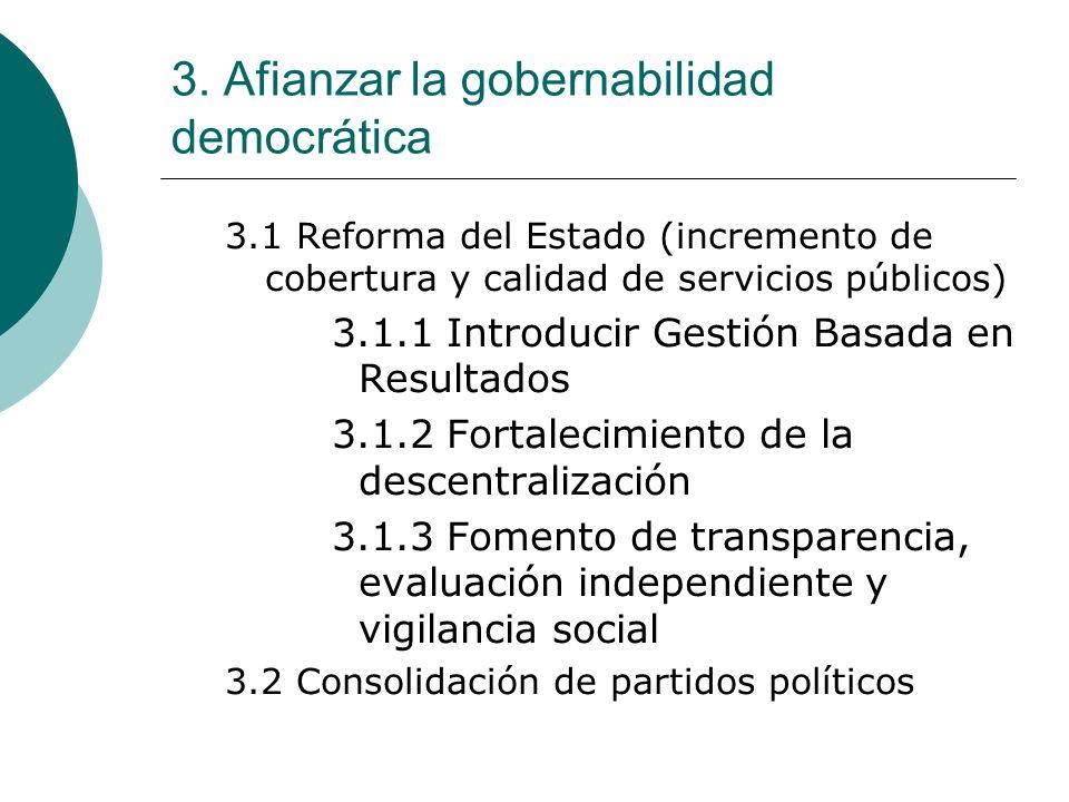 3. Afianzar la gobernabilidad democrática 3.1 Reforma del Estado (incremento de cobertura y calidad de servicios públicos) 3.1.1 Introducir Gestión Ba